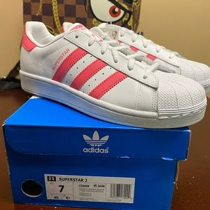 Adidas Superstar J Big Kids Shoes White Pink Sz 7